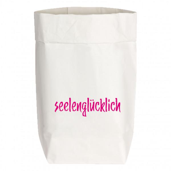Paperbags Small weiss, SEELENGLÜCKLICH, neon pink