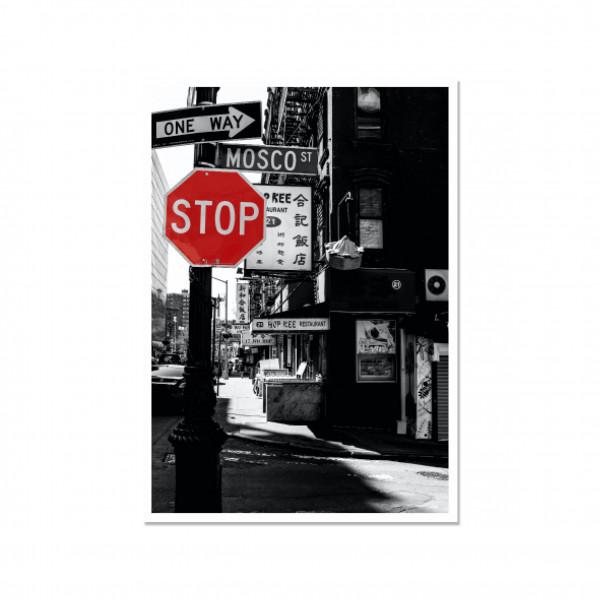 "Postkarte hoch, Streetart, NEW YORK ""STOP"" MOSCO ST"