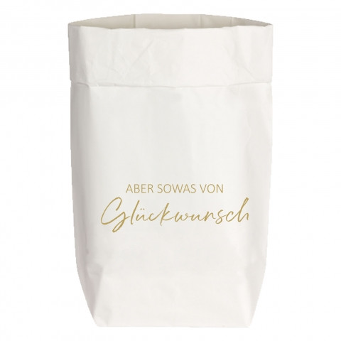 Paperbags Small weiss, ABER SOWAS VON Glückwunsch, gold