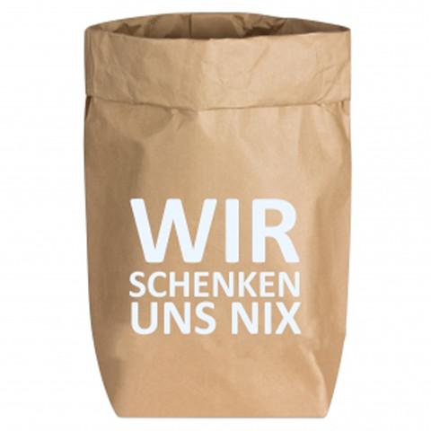 Paperbags Small natur, WIR SCHENKEN UNS NIX, weiss