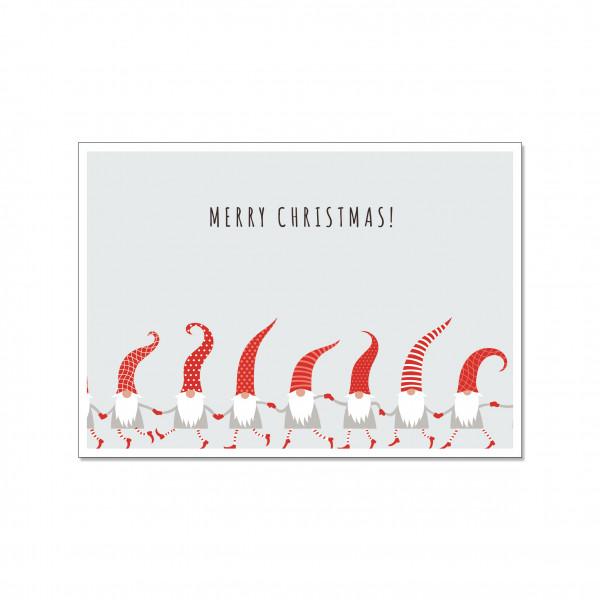 Postkarte quer, MERRY CHRISTMAS - ZWERGENPARADE