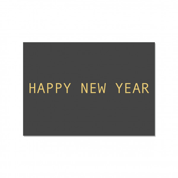 Postkarte quer, HAPPY NEW YEAR, Gold