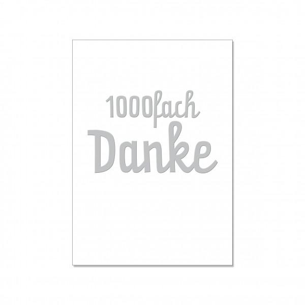 Postkarte hoch, 1000fach DANKE mit Heißfolie veredelt
