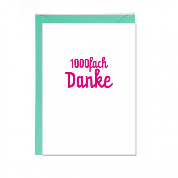 Faltkarte hoch, 1000FACH DANKE, neon pink