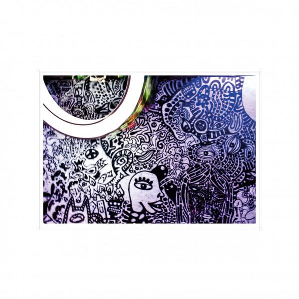 Postkarte quer, Streetart, DOODLE